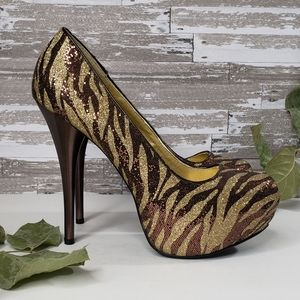 Qupid Gold Brown Zebra Pattern Glitter Platforms